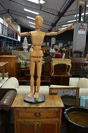 Sale 8115 - Lot 1228 - A Timber Child Size Artist Mannequin on Stand