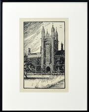 Sale 8330A - Lot 99 - Raymond G. McGrath (1903 - 1977) - The Tower, Sydney University 1923 31 x 19cm