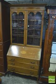 Sale 8375 - Lot 1086 - Antique Style Satinwood Bureau Bookcase, with an oak fitted interior (Key in Office)