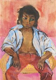 Sale 8549 - Lot 547 - Donald Friend (1915 -1989) - Youth (Bali) 75.5 x 53.5cm