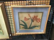 Sale 8711 - Lot 2031 - Artist Unknown (Japanese school) - Lily, gouache on silk, 38 x 41cm (frame size), signed lower left