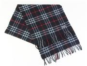 Sale 8820 - Lot 384 - A VINTAGE BURBERRYS OF LONDON CASHMERE BLACK CHECK SCARF; 31 x 150cm incl fringe, with label.