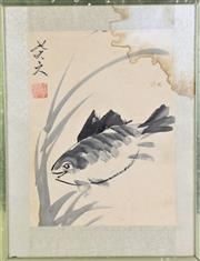 Sale 8909S - Lot 639 - Framed Chinese painting on paper depicting a fish, H53cm x W40cm