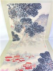 Sale 8909S - Lot 653 - Large Hand Painted Chinese Scroll Featuring Village Among Trees
