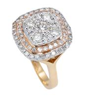 Sale 8928 - Lot 377 - AN 18CT GOLD DIAMOND COCKTAIL RING; cushion form center set with 5 round brilliant cut diamonds totalling approx. 0.79ct above a 2 r...