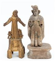 Sale 9015J - Lot 198 - A pair of Antique Santos figures inc. a gilded example, height of taller 31cm