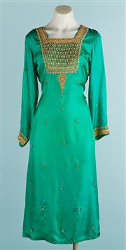Sale 9071F - Lot 46 - A HANDMADE WASITED TUNIC; in emerald green with embroidery to necklline, sleeves and bodice  with square neck line and 3/4 sleeves,...