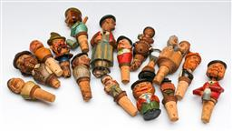 Sale 9153 - Lot 97 - A large collection of timber figural bottle corks, and bottle openers (some damaged)