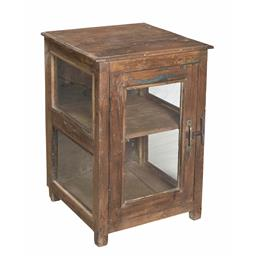 Sale 9216S - Lot 26 - A small distressed teak cabinet with one door, Height 68cm x Width 46cm x Depth 46cm