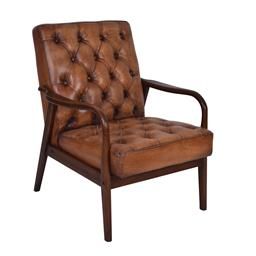 Sale 9245T - Lot 8 - An old saddle soft top grain leather with aged effect armchair, with a Mid-Century style timber show frame. Dimensions: H 93 x W 72...