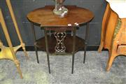 Sale 8129 - Lot 1004 - Tiered Timber Occasional Table w Pierced Sides on Tapering Legs
