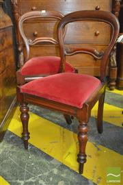 Sale 8255 - Lot 1085 - Set of Six Victorian Mahogany Balloon Back Chairs, with red upholstery & turned legs
