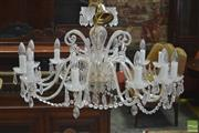 Sale 8291 - Lot 1042 - Twelve Branch Crystal Chandelier, with drops and festoons