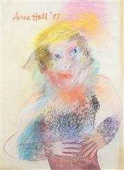 Sale 8466A - Lot 5050 - Anne Hall (1946 - ) (2 works) - Chesty, 1977; Portrait Study in Red/Blue 101 x 57cm, each (sheet size)
