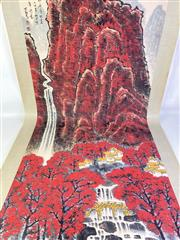 Sale 8909S - Lot 655 - Large Hand Painted Chinese Scroll Of A Red Mountain