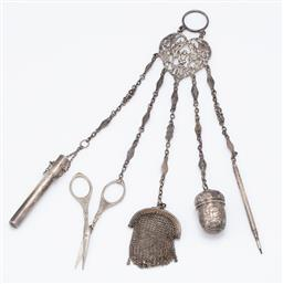 Sale 9120H - Lot 291 - A silver chatelaine with five chains, combined weight 98g,Length 29cm  some losses