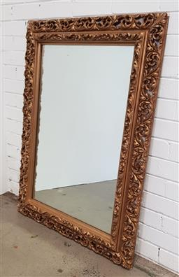 Sale 9162 - Lot 1024 - Rectangular gilt mirror, with moulded frame & outer pierced scroll border