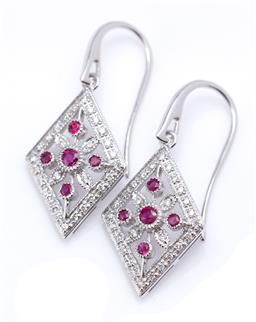 Sale 9194 - Lot 391 - A PAIR OF DECO STYLE RUBY AND DIAMOND EARRINGS; lozenge shape pierced plaques centring a floral cluster of round cut rubies and roun...