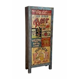 Sale 9216S - Lot 25 - A tall rustic painted two door cabinet with vintage advertisements theme to doors, Height 186cm x Width 75cm x Depth 36cm