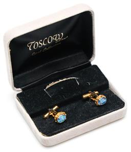 Sale 9246 - Lot 69 - A boxed opal triplet and crystal pendant & earring suit together with pair of cufflinks both by Toscow Australia (as new)