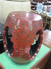 Sale 7933A - Lot 1155 - Red Lacquered Stool with Floral Decoration