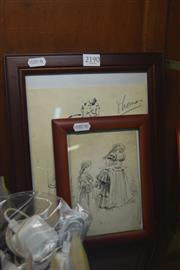 Sale 8189 - Lot 2190 - 2 Victorian Ink Sketches One Signed