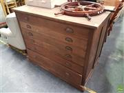 Sale 8601 - Lot 1087 - Timber Map Chest of Five Drawers (H:100 W:122 D:71cm)