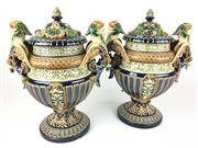 Sale 8995H - Lot 100 - A pair of C19th German majolica lidded urns marked to base, height 36cm x width 30cm