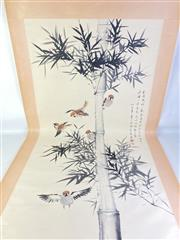 Sale 8909S - Lot 608 - Large Hand Painted Chinese Scroll Featuring Birds Amongst Bamboo