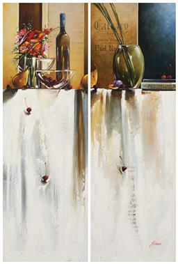 Sale 9214 - Lot 575 - JUDITH DALLOZO Still Life with Pears (diptych) oil on canvas 120 x 80 cm (total) signed lower left, inscribed and titled verso