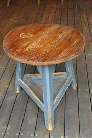 Sale 7379B - Lot 58 - Rustic Oak cracket table on triform shelf support, shaped apron and blue painted base. diameter 66cm