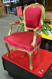 Sale 7987A - Lot 1166 - Gilt Framed Armchair In Red