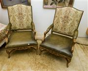 Sale 8205 - Lot 82 - A pair of Ralph Lauren Louis XVI style gilt painted armchairs with tapestry back, leather seat and arms and stud detail