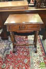 Sale 8255 - Lot 1022 - 19th Century French Walnut Work Table, the hinged lid with mirror, slide out drawer, turned feet & stretcher