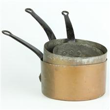 Sale 8351A - Lot 73 - Set of Three Graduated French Copper Saucepans diameter 15-19cm depth 7-10cm(approx weight 3.5kg)