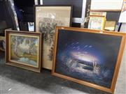 Sale 8417T - Lot 2045 - Group of (3) Assorted Artworks Including Original Landscape Paintings and Chinese Watercolour