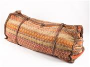 Sale 8518A - Lot 47 - A large authentic antique kilim camel saddle bag with hand stiched seams (central leather strap missing), width 114cm