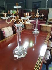 Sale 8566 - Lot 1421 - Impressive Pair of Glass Candle Holders