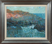 Sale 8677B - Lot 525 - G Preiss, Winter evening by the sea, oil on board, 61 x 74cm