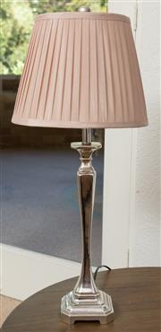 Sale 9066H - Lot 45 - A silvered elegant candlestick form occasional lamp on square base with a pink pleated silk shade. H 68cm.
