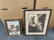 Sale 9061 - Lot 2084 - A Framed decorative print and gemstone painting, with gemstone key verso, frame: 40 x 32 cm,