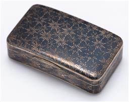Sale 9120H - Lot 293 - A niello Russian silver snuff box, with Zolotnik 84 mark to interior, Weight 65g