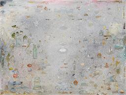 Sale 9141 - Lot 529 - Tim Johnson (1947 - ) New Pure Land, 2014 mixed media on linen 76.5 x 101.5 cm signed, dated and titled verso. Provenance: Private C...