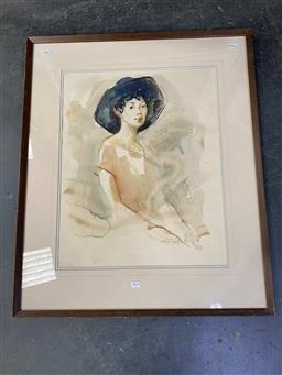 Sale 9159 - Lot 2034 - Artist Unknown Woman in Hat, 1985 watercolour frame: 83 x 69cm, signed and dated lower right