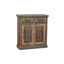 Sale 9216S - Lot 17 - A painted and carved teak two door and two drawer cabinet, with intricate motifs, Height 100cm x Width 91cm x Depth 35cm