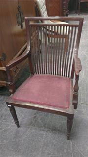 Sale 7944A - Lot 1052 - Scrolled Armchair with Slat Back Armchair (2)