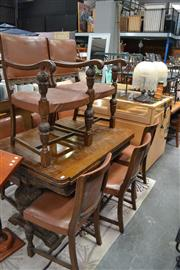 Sale 8115 - Lot 1493 - 1930s Oak Refectory Style Extension Table & Eight Chairs, incl. two armchairs with brown upholstery