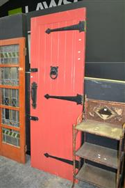 Sale 8115 - Lot 1012 - Large Timber Door w Brass Fittings to Both Sides inc Knocker