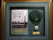 Sale 8200A - Lot 3013 - Signed Shane Warne, a limited edition collage with big photo signed, Australian Test cap and white ball, COA to reverse, framed 80 x...