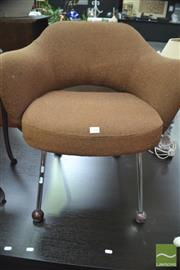 Sale 8287 - Lot 1044 - Brown Fabric Armchair by Saarinen